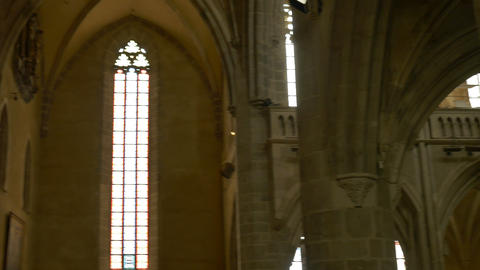 Stained Glass in Gothic Church Footage