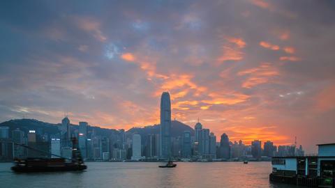 Sunset time lapse at Hong Kong Bay Footage