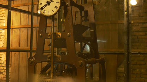 Tower Clock Old Mechanism Footage
