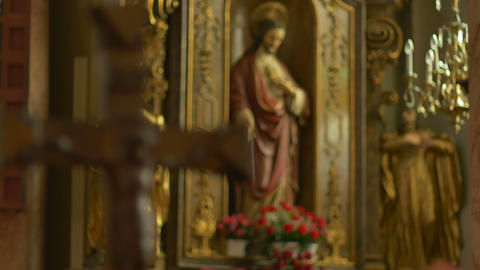 Catholic Jesus Statue and Crucifix Footage