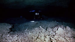 Underground fresh lake in Mexican Dos Ojos cenote Footage