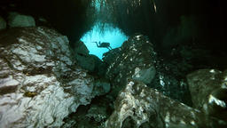 Tree roots and rocks in Yucatan Mexican cenote Footage