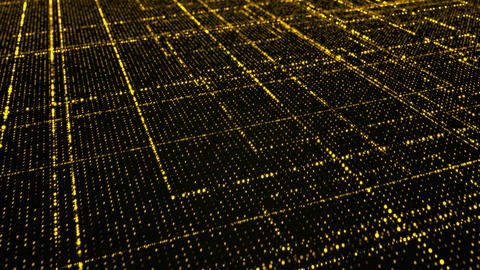 Grid of yellow glowing particles 画像