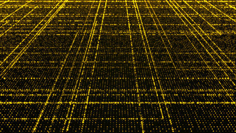 Grid of yellow glowing particles Animation