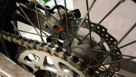 Exhibition of motorcycles, The rear wheel of the motorcycle spinning closeup Footage