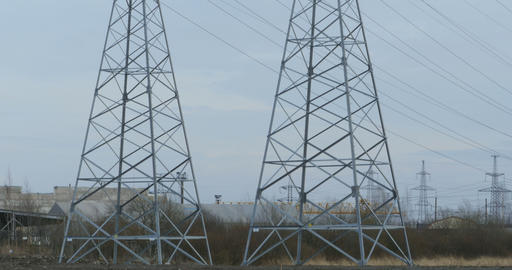 Huge steel poles of high voltage transmission line Footage