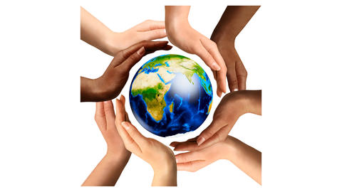 Multiracial Hands Surrounding The Earth Globe Unity and World Peace concept Animación