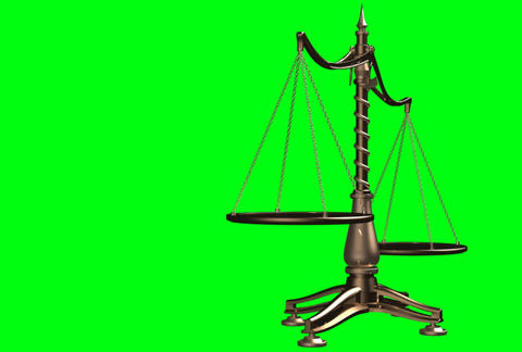 Balancing brass weight scales 3D animation Animation