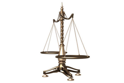 Balancing brass weight scales 3D animation Stock Video Footage