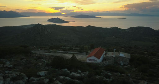 Aerial view of Aegina island, Greece at beautiful sunset Footage