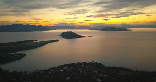Aerial view of Aegina island, Greece at beautiful sunset Footage
