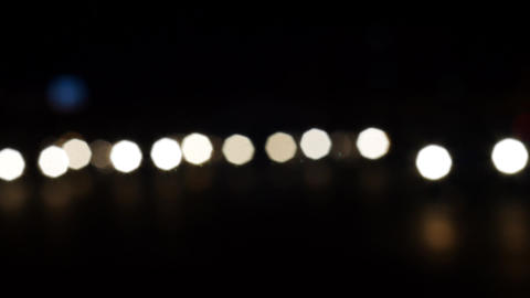 Night City. Background With Car Lights. Defocused Image Of The Night Road. Bokeh Footage