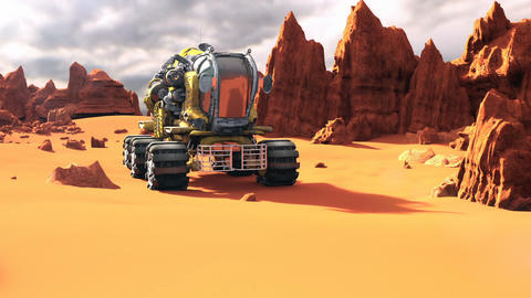 Mars Rover on the Red Planet. A futuristic concept of a colonization of Mars 画像