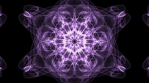 Live purple fractal mandala, video tunnel on black background. Animated Animation