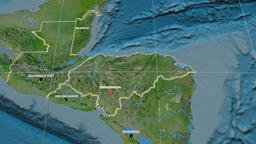 Zoom-in on Honduras extruded. Satellite Animation