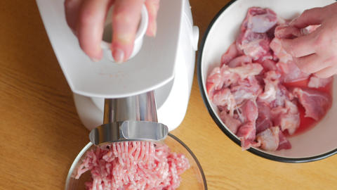 Cooking the meat forcemeat using the meat grinder Stock Video Footage