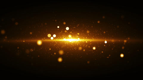 Golden lights background with particles coming from center Animation