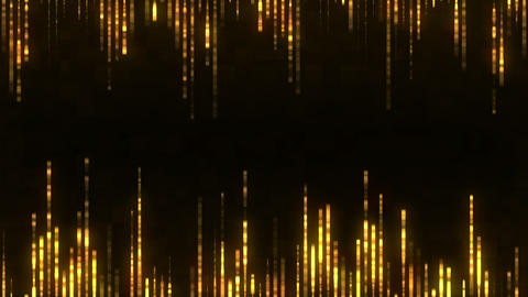 Abstract gold cyber background with moving particles. Process running in a Animation
