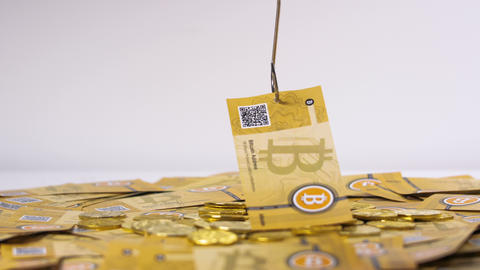 Bitcoin Banknote Catched by Hook Made As Currency Archivo
