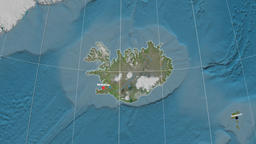 Zoom-in on Iceland outlined. Satellite Animation