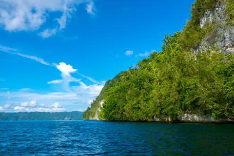 Rocky Coast with a Rainforest and a Sailing Yacht Fotografía