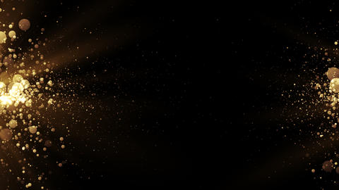 Abstract golden background with particles come from the left and right Animation