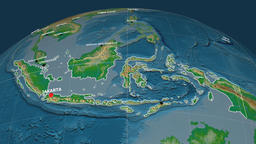 Zoom-in on Indonesia extruded. Physical Animation