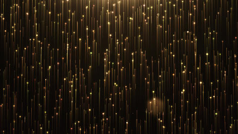 Glamorous gold shine Line and particles on a black background Animation