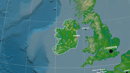 Zoom-in on Ireland outlined. Physical Animation