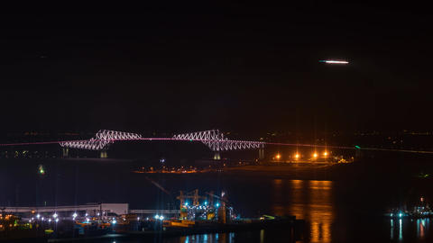 Time-lapse airplans above Haneda Airport over Tokyo Bay Footage