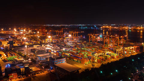 Time-lapse of a Tokyo shipping port with container cargo Footage