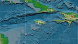 Zoom-in on Jamaica outlined. Physical Animation