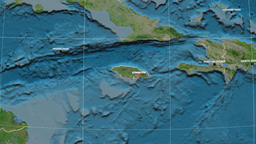 Zoom-in on Jamaica outlined. Satellite Image