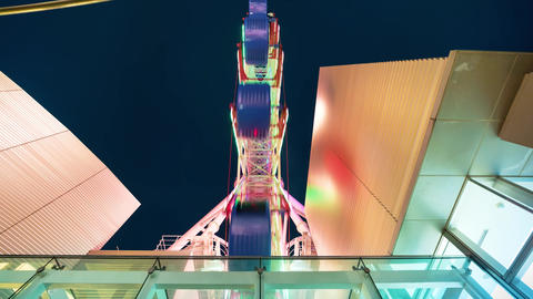 Colorful ferris wheel time lapse Footage