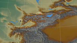 Zoom-in on Kyrgyzstan outlined. Relief Animation