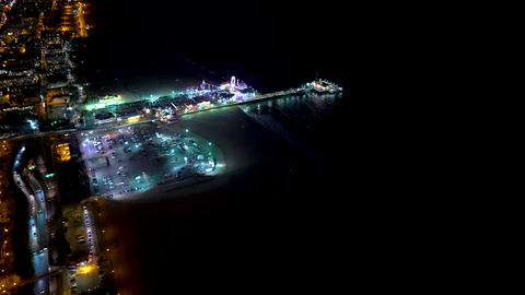 Aerial view of the beach in Santa Monica, CA Footage
