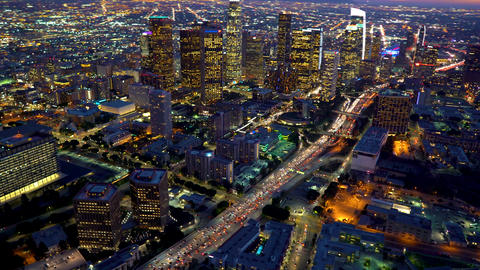 Aerial view of a Downtown Los Angeles Footage