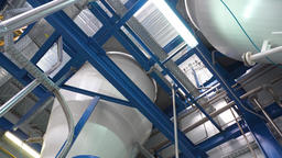 Manufacture of paint, paint mixing tanks Footage