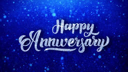 Happy Anniversary Wishes Blue Glitter Sparkling Dust Blinking Particles Looped Footage