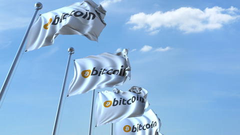 Waving flags with bitcoin logo against the sky. 3D rendering Fotografía