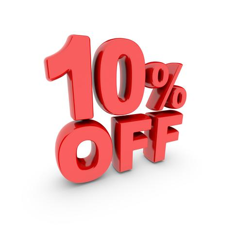 10 percent off promotion. Discount sign. Red text is isolated on white フォト