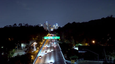 The 110 expressway heading toward downtown Los Angeles Footage