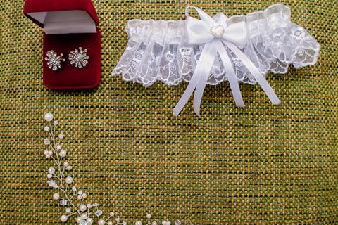Beautiful set of women's wedding accessories. Bride's morning Fotografía