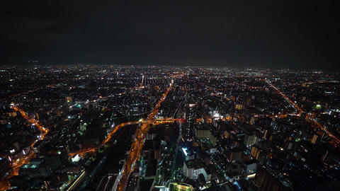 Aerial view of Osaka at night Footage
