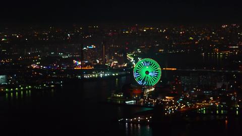 Ferris wheel and amusment park in Osaka Bay Image