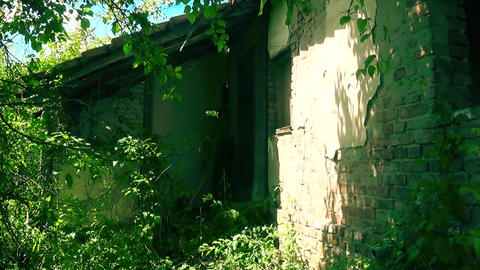 Old abandoned house front door Footage