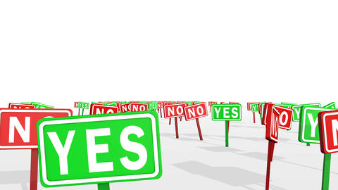 Yes and No Concept in Traffic Signs Animation
