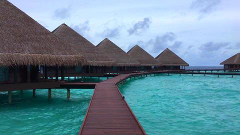 MALDIVES WATER BUNGALOWS 4k Archivo