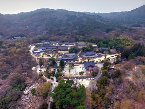 Landscape of Beomeosa Temple at Spring Season, Busan , South Korea, Asia Fotografía