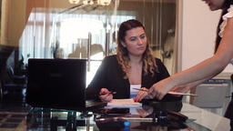 Business woman director signs documents that bring to the signature secretary Footage